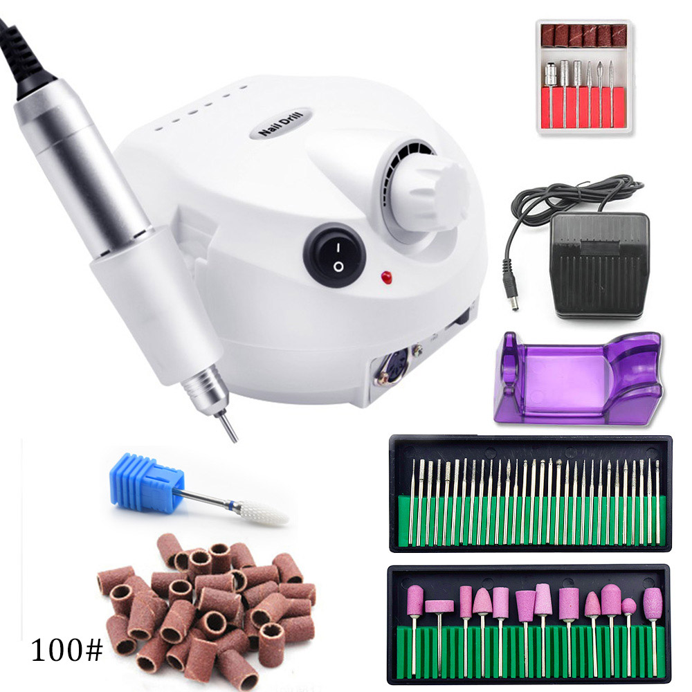 Pro 35000RPM Electric Nail Drill Machine Manicure Machine File Kit With New Version Silicone Case Anti-scald Handle Nail Tools