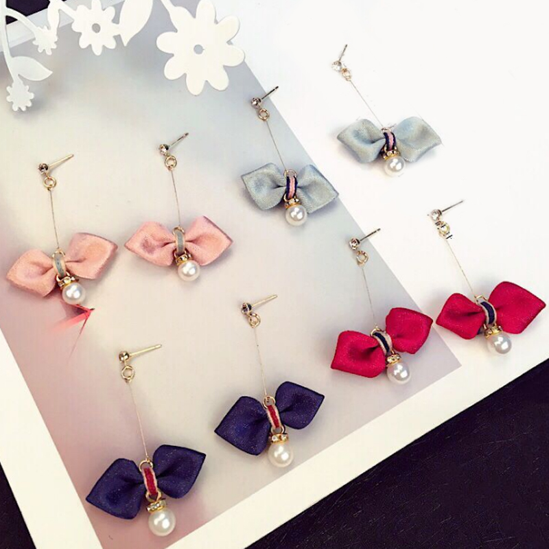 LNRRABC bow cute charm earrings red navy blue gray retro elegant ear clip girls party gift female Accessories jewelry boutique in Drop Earrings from Jewelry Accessories