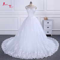 Jark Tozr 100 Real Photo Lace Up Open Back Full Pearls Beaded Crystal Appliques Flowers Princess