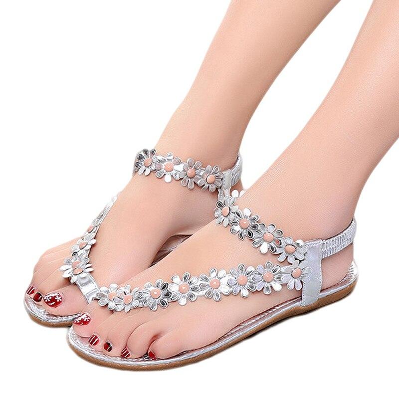 mirada detallada 4b3be 5a696 € 7.14 45% de DESCUENTO|Sandalias de verano para mujer 2018 moda Bohemia  zapatos de mujer Sandalias de flores mujeres Casual Tanga zapatos planos de  ...