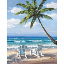 MOYOU Full Square Drill 5D DIY Diamond Painting Beach &coconut Tree 3D Embroidery set Cross Stitch Mosaic Decor gift недорого