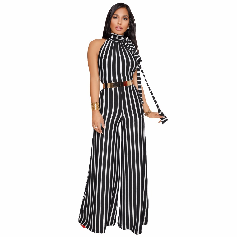f8f29825c035 Sexy stripes with bare back Women Evening Party Jumpsuit Elegant Wide Leg  Jumpsuit Office Rompers Long
