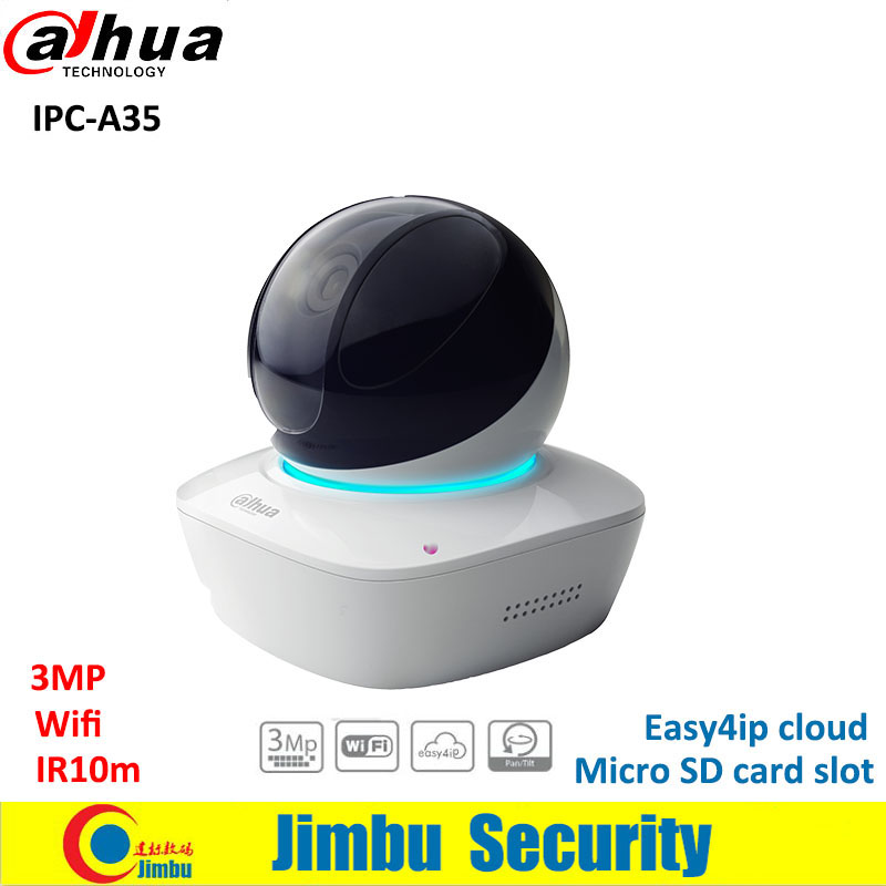 Dahua 3MP wifi IP PT Camera IPC-A35 IR10m support Easy4ip with Micro SD card slot up to 128GB COMS cctv indoor CCTV camera цены онлайн