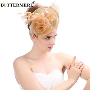 Image 5 - Chapeau de soirée Fedora papillon pour femmes, bordeaux, chapeaux de mariage, dames à plumes, pilulier fascinant à fleurs, casquette de mariée élégante noire