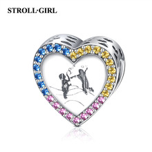 Strollgirl 925 sterling silver Cute Colorful CZ childhood Charm Heart Shape beads Fit Pandora Bracelet for Women DIY Jewelry new diy 925 sterling silver heart carved high technology cute small robot charm beads fit trendy bracelet for women anniversary