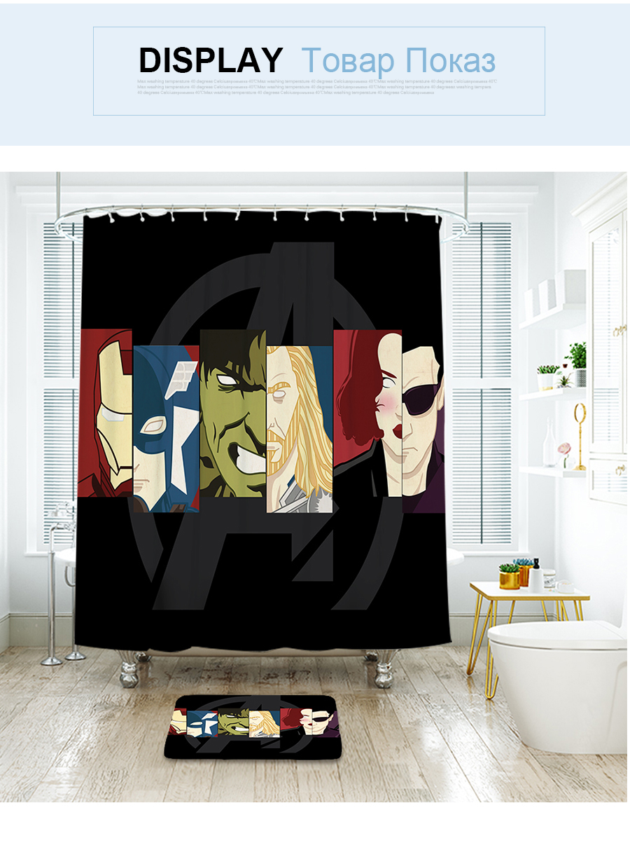 2019 Ibano Marvel Hero Shower Curtain Waterproof Polyester Fabric Bath Curtain For The Bathroom With Plastic Hooks Floor Mat From Sophine11 39 95