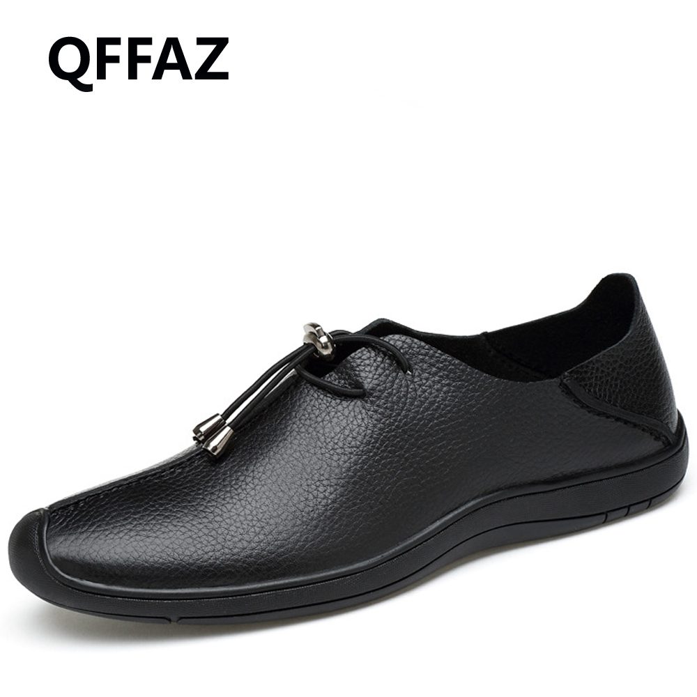 QFFAZ 2018 New Men Genuine Leather Shoes Lace up Casual Shoes Real Leather Breathable Mens Moccasins Shoes Big Size 38-45 pl us size 38 47 handmade genuine leather mens shoes casual men loafers fashion breathable driving shoes slip on moccasins