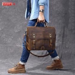 Men's Handbag Male Laptop Briefcase Genuine Leather Shoulder Crossbody Bag Men Business Travel Bags Vintage Crazy Horse Leather