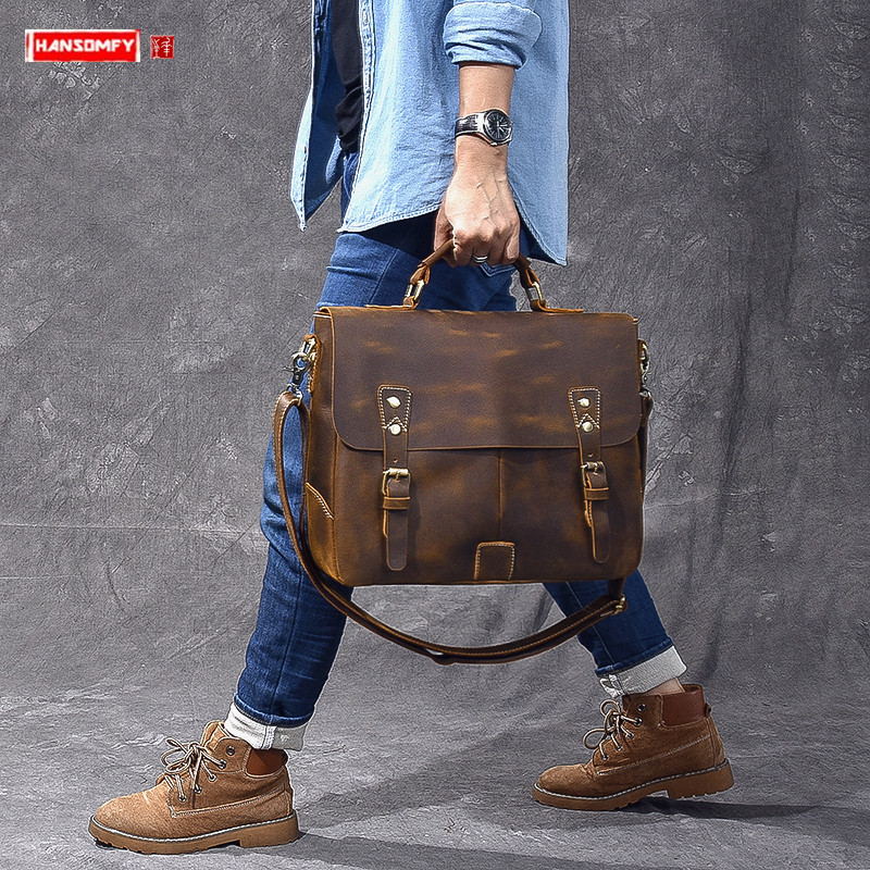 Vintage Crazy Horse Leather Men's Handbag Male Laptop Briefcase Genuine Leather Shoulder Crossbody Bag Men Business Travel Bags
