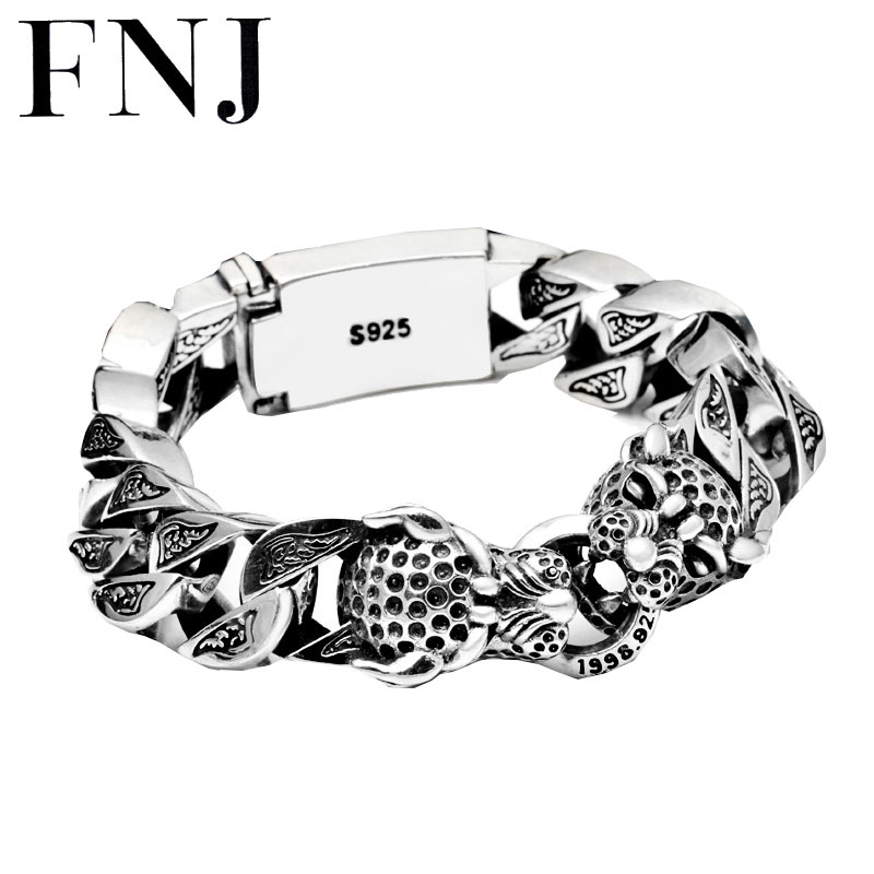 Punk Statement Animal Bracelet 925 Sterling Silver Christmas Gifts Big Leopard Head S925 Solid Thai Silver