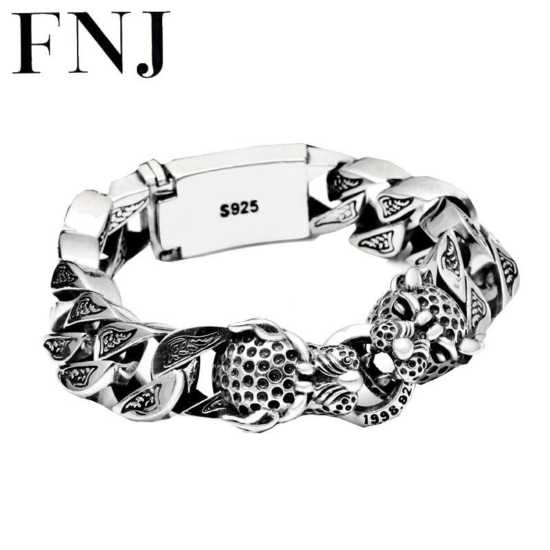 Punk Statement Animal Bracelet 925 Sterling Silver Christmas Gifts Big Leopard Head S925 Solid Thai Silver Bracelet Men Jewelry