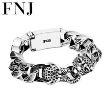 Punk Statement Animal Bracelet 925 Sterling Silver Christmas Gifts Big Leopard Head S925 Solid Thai Silver Bracelet Men Jewelry(China)