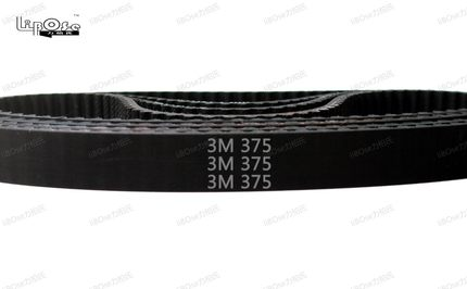 10 pieces 375 HTD3M timing belt length 375mm width 9mm 125 teeth rubber closed-loop 375-3M-9 S3M 3M 9 pulley for CNC machine