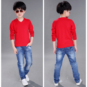 Image 3 - Fashion Boys Sweater Knitting Pattern Spring 2018 Children Pullovers Tops Cotton Kids Outerwear Clothes Pure Color Sweater 4 16Y