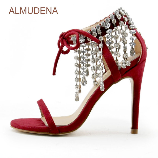 54647eb87 ALMUDENA Sexy Red Suede Bling Bling Crystal Sandals Lace-up Stiletto Heel  Shoes Glittering Fringe Rhinestone Pumps Single Strap