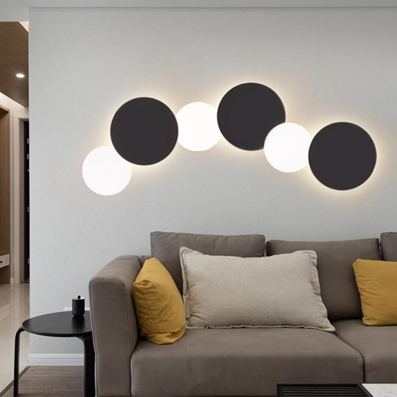 Wall Lamp Vintage 3D Moon Eclipse LED Nordic Black White Light Bedroom Living Room Aisle Porch Sconce Light Wall Lamp Decor Z35 fashion nordic living room bedside wall lamp porch balcony porch light solid wood creative light simple black and white