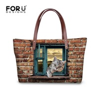 FORUDESIGNS New Style Lie Prone On The Window Printing Animals Large Capacity Shoulder Bags Fashion Tote Bag Lady Water Proof