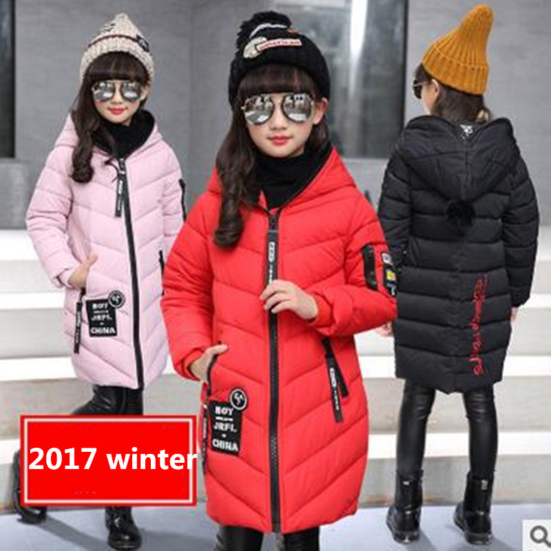 ФОТО 2017 new fashion girls winter parkas outerwear thickening warm cotton-padded jacket children long coat children winter clothes