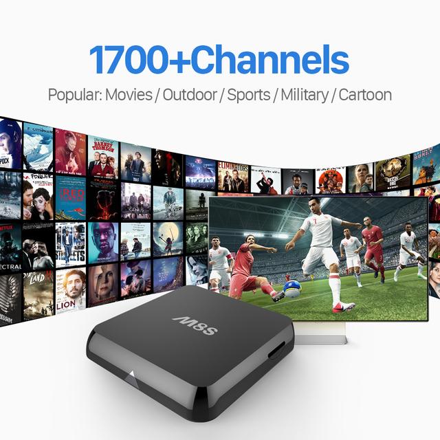 M8S Android Smart TV Box Amlogic S812 Com Free HD 1700 IPTV canais Europa Árabe Francês REINO UNIDO Suécia Itália África TV Set Top Box