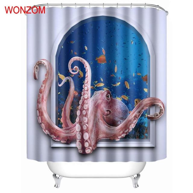 WONZOM 1Pcs Octopus Waterproof Shower Curtain Bathroom Decor Aquatic Animal Decoration Cortina De Bano 2017 Bath Gift
