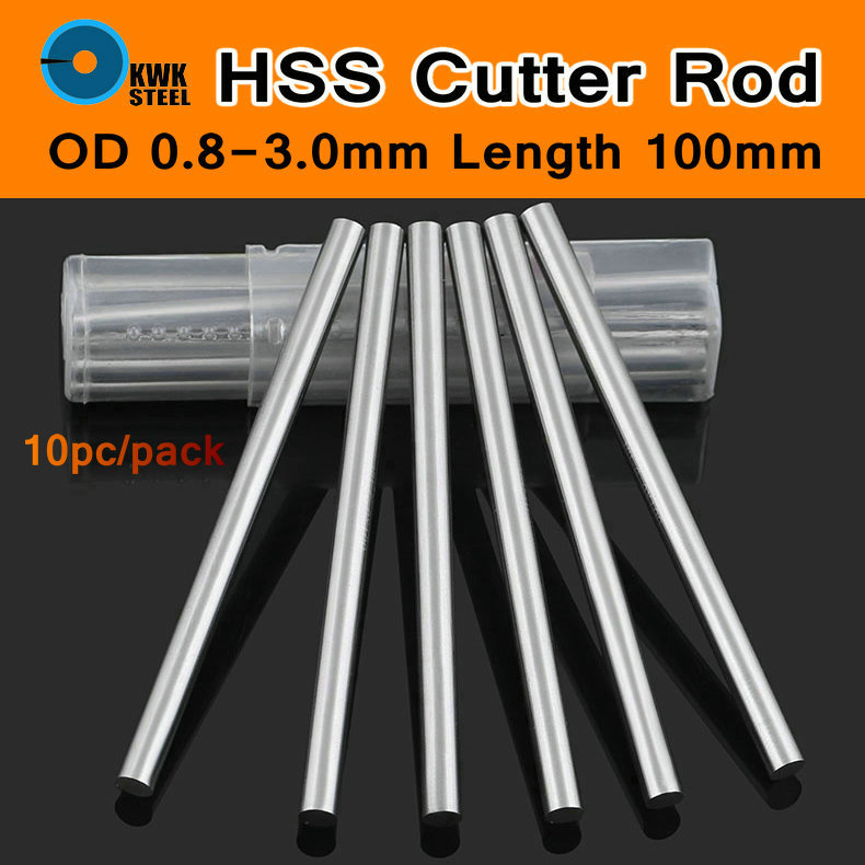 HSS Steel Cutter <font><b>Rod</b></font> High-strength Steel <font><b>Rods</b></font> Steel Straight Shank Twist Drill HSS Drill Bit Bits Round Bar 0.8-<font><b>3mm</b></font> 100mm 10pc/p image