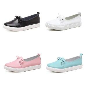 Image 2 - Женские студенческие туфли DONGNANFENG из натуральной кожи, белые туфли на плоской платформе, на шнуровке, Корейская повседневная обувь с вулканизированной подошвой FEZ 173