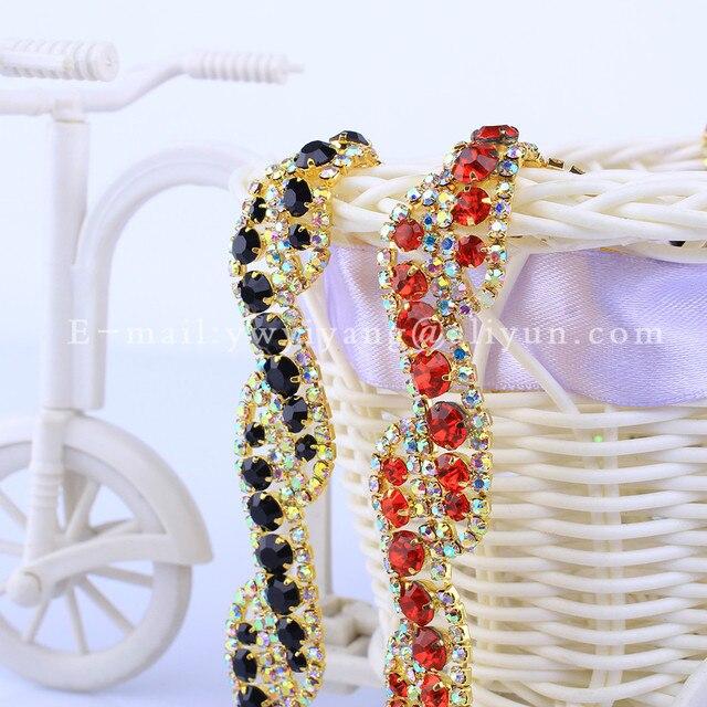 5yards roll High Quality Golden Base Densify Claw Crystal Rhinestone Cup  Chain For wedding dress decorative crystal chain HF-697 9b0f6319d4c4