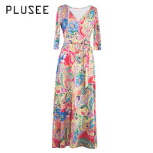 b68b5405e7 Plusee Dress Women Bohemian Yellow Floral Print Long Sleeve Color Block  Expansion V-Neck Ankle
