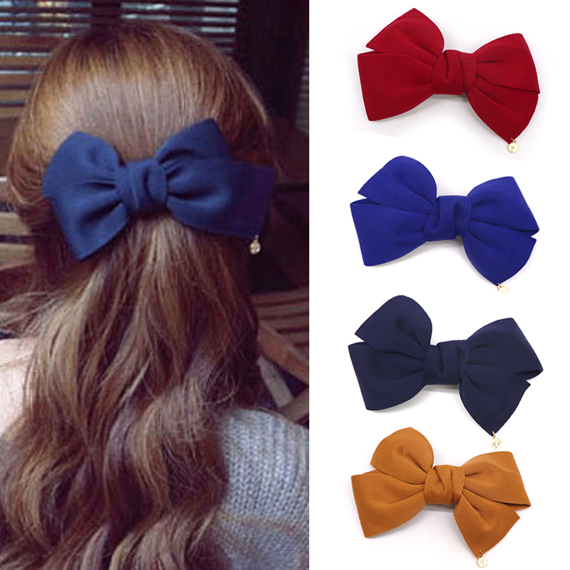 New Womens Two Tone Navy and White Double Bow Hair Clip Hair Accessories