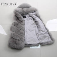 pink java QC8099 FREE SHIPPING high quality women winter real fox fur vest gilet genuine fox fur coat with hood short model hot