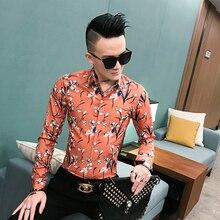 Mens shirt 2019 new summer long-sleeved trend male spirit guy social Korean version of the tide brand young master flower
