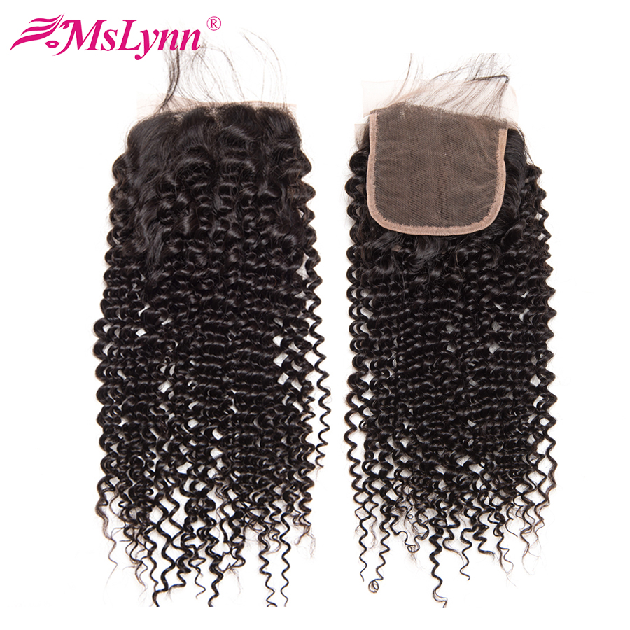 Kinky Curly Hair Lace Closure 4X4 Closure Brazilian Hair Human Hair With Baby Hair 10 20
