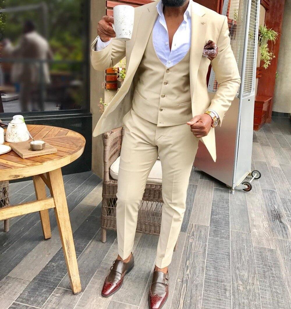 2020 New Men's 3 Pieces Champagne Suit Formal Business Notch Lapel Silm Fit Tuxedo Groomsmen For Wedding (Blazer+Vest+Pants)