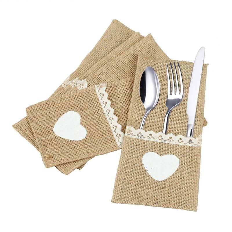1pcs Jute Hessian Burlap Linen Lace Cutlery Holder Vintage Birthday Wedding Party Decorations Tableware Supplies 62447