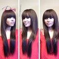 Cor Natural de Seda Reta Cheia Do Laço do cabelo Humano Perucas & Lace frente Perucas de cabelo Humano Peruano cabelo Virgem Peruca de Cabelo Humano Com estrondo