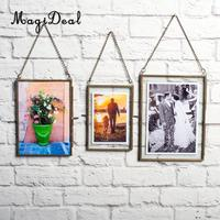 MagiDeal Hot Sale Antique Brass Glass Picture Photo Frame Hanging Portrait 5x7 inch+4x6 inch