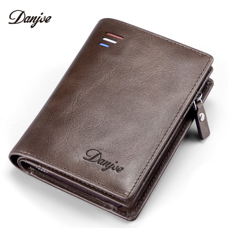 DANJUE Men Wallet Genuine Leather Short Male Purse Zipper Coin Pocket Large Capacity Card Holder Business Money Bag Hasp Style