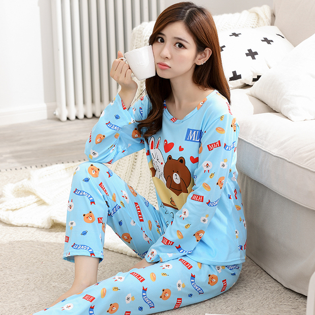 bb6495a0a4 Wholesale 2018 Pajamas Sets Spring Autumn Pyjamas Thin Cartoon printed  Women Long sleeve Sleepwear Suit Casual