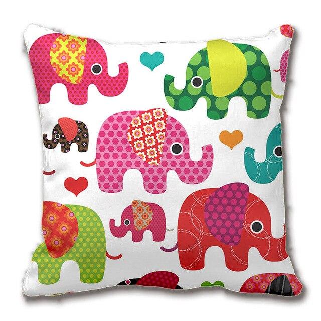 cute retro elephant parade pattern throw pillow case decorative