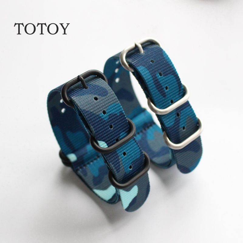 TOTOY Camouflage Nylon Watchbands NATO Strap 18MM 20MM 22MM 24MM Sport Camouflage Nylon Watch Strap Men and Women 39 s Wristband in Watchbands from Watches
