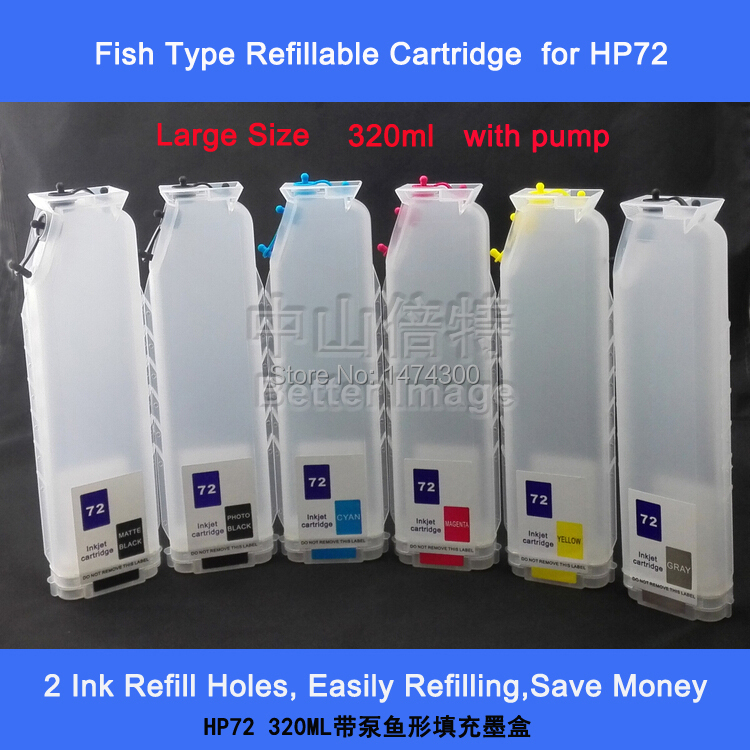 XIMO New arrival 320ml large size empty refillable ink cartridge with chips for HP72,Fish type,with pump new t5971 t5974 t5978 empty refillable ink cartridge for epson stylus 7700 9700 7710 9710 with arc chips with one resetter