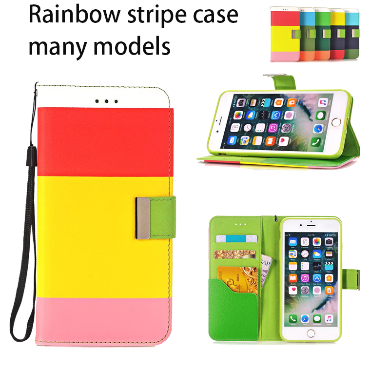 For iPhone6 Art Print Pattern Leather Wallet Flip Case For Apple iPhone 6 6S Plus/iphone7 7plus colourful stripe Stand Cover