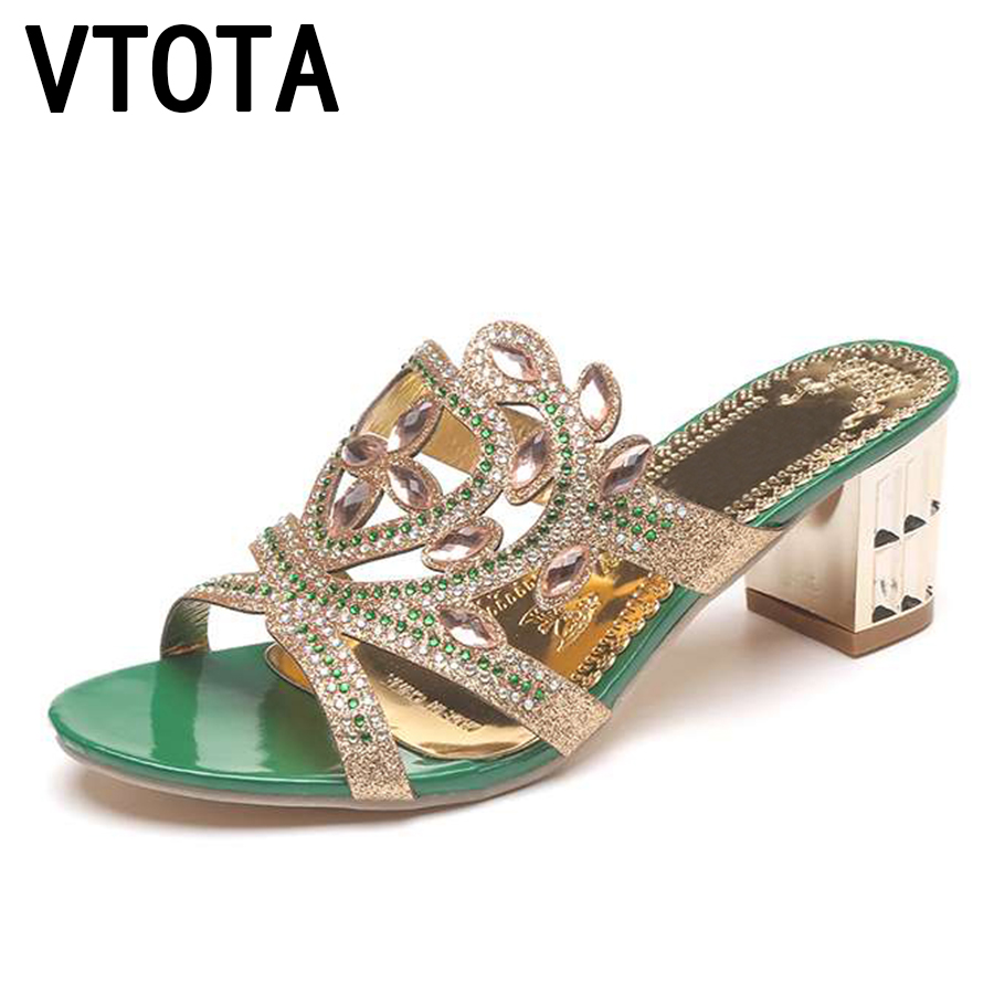 VTOTA Summer Slipper Women Shoes Open Toes High Heels Slippers 2018 Crystal Ladies Sandals Woman sapato feminino Shoes Woman B68 swonco women s slippers half shoes candy color breathable female slipper 2018 woman slippers summer sandals ladies beach shoes