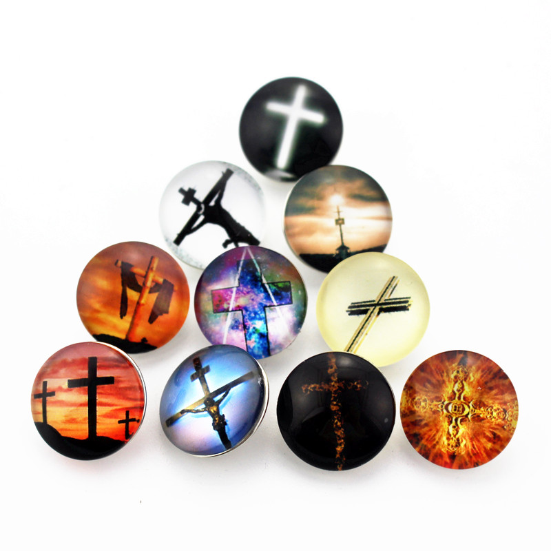 Hot Selling 20pcs/lot Glass Cross Snap Button Charms DIY Snap Bracelet&Bangles Jewelry Accessory Charms Fit 18mm Snap Jewelry image