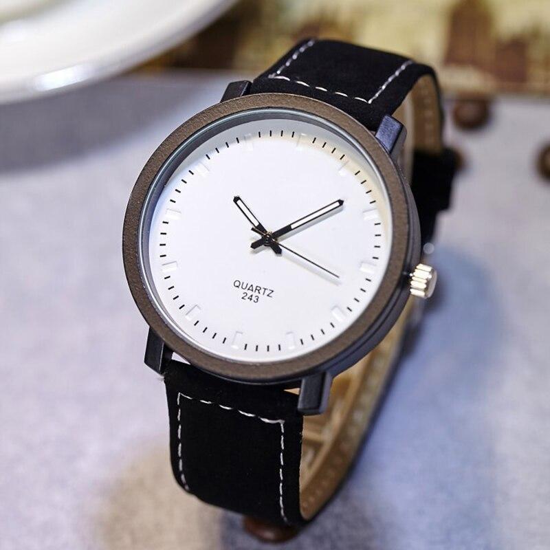 Black simple men quartz white big dial wristwatch luxury military watches casual relogio masculino business ultra thin men clock