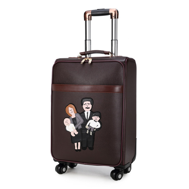 Suitcase bag women men PU leather trolley case, new style, Retro business travel luggage Bags, lock, wheels mute,16 20 24 inch