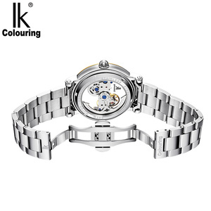 Image 4 - IK colouring Man Watch 5ATM Waterproof Luxury Transparent Case Stainless Steel Band Male Mechanical Wristwatch Relogio Masculino