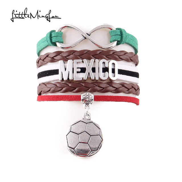 Little Minglou Infinity charm Mexico bracelet soccer charm leather wrap men brac