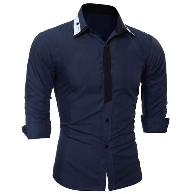 Brand Fashion Male Shirt Long Sleeves Fashion Youth Hit Color Mens Dress Shirts Slim Male Casual Shirt 3XL