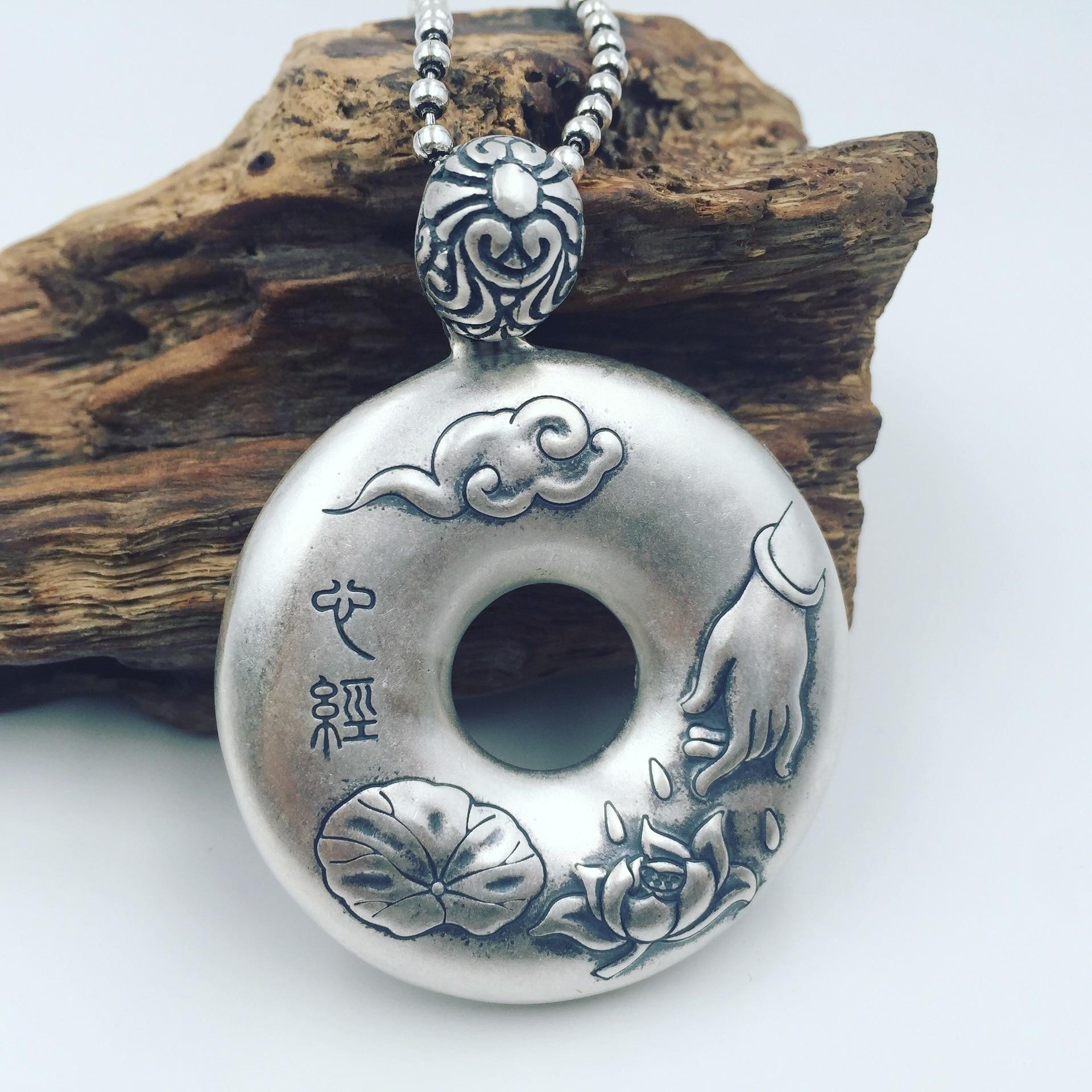 S990 Zuyin silver Lotus Sutra Bergamot buckle silver pendantS990 Zuyin silver Lotus Sutra Bergamot buckle silver pendant
